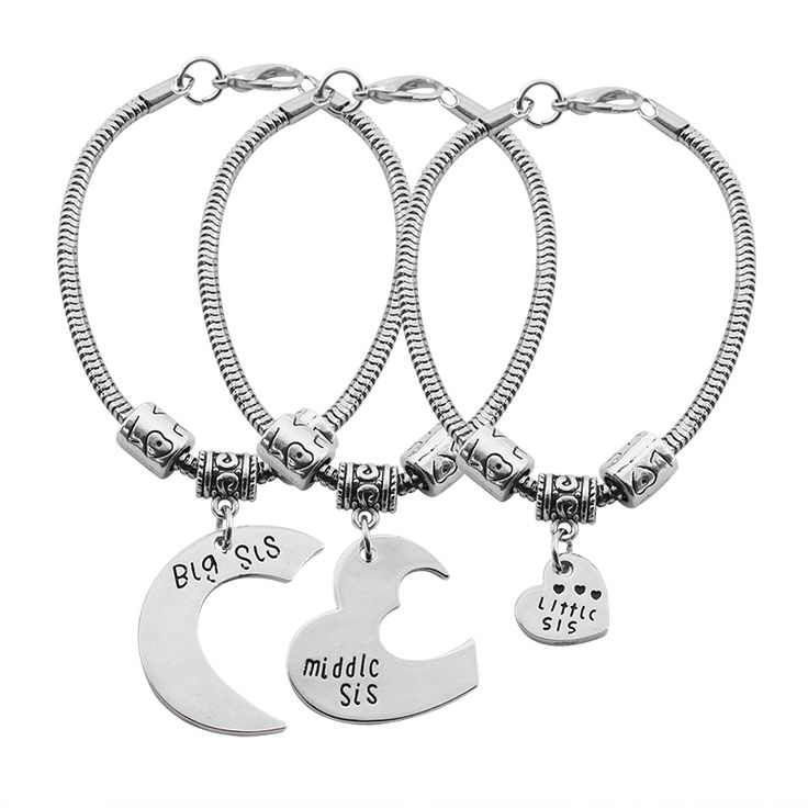 2017 Good Sister Big Middle Little Sister Bracelets Silver Spring Heart Spliced Heart Moon Shape Adjustable Chain Bracelet