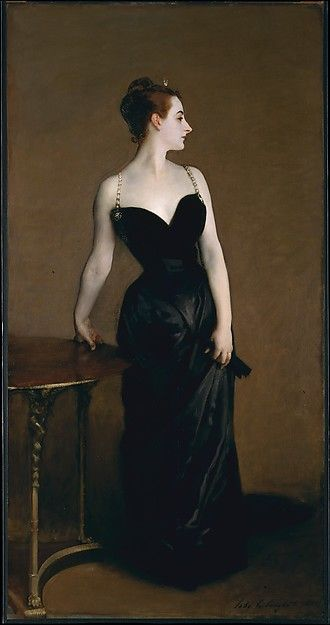 """Madame X (Madame Pierre Gautreau)"" by John Singer Sargent. 1883-84, oil on canvas. The artist emphasized his subject's daring personal style by  depicting the right strap of her gown slipping from her shoulder. At the Salon of 1884 the portrait, in that form, received more ridicule than praise. Sargent repainted the shoulder strap as it now appears and kept the work for over thirty years. When, eventually, he sold it to the MetMuseum NYC, he asked that the museum disguise the sitter's name."