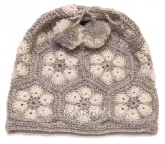 Crochet African Flower beanie