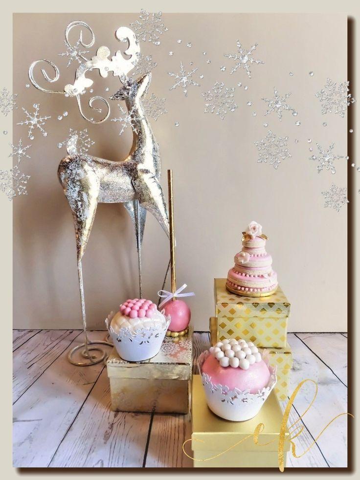 Winter wedding dessert table set.