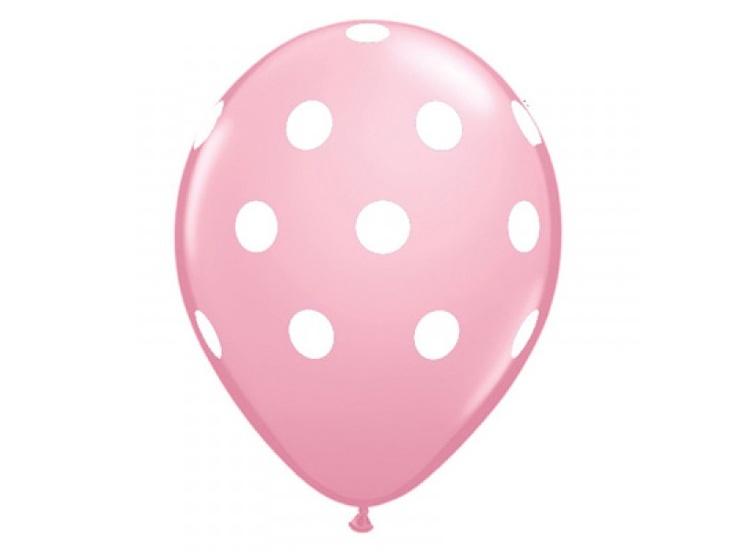 Lyserød ballon med hvide polkaprikker