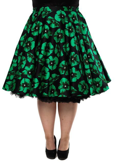 Green Poppy Floral Swing, kellohame - www.misswindyshop.com  #circleskirt #50s #vintagestyle #fiftiesstyle #skirt #floral #petticoat