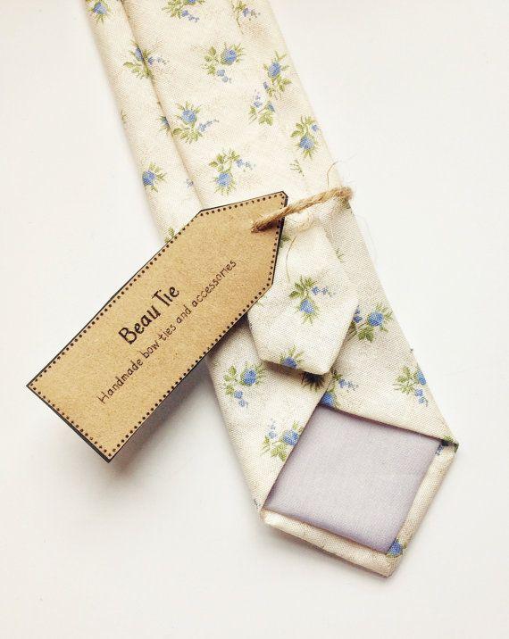 Floral tie Mens skinny tie wedding tie mens ivory by BeauTieUK