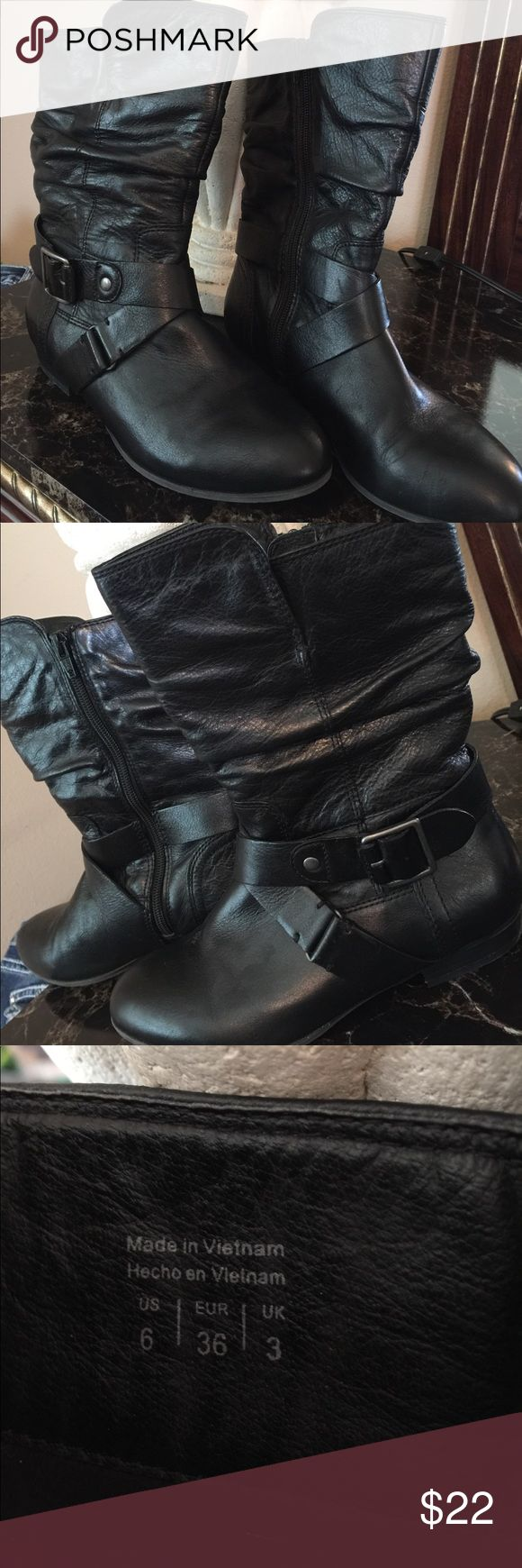"""Aldo Boots Black boots. 10"""" tall in front and 9"""" in the back. Boot opening measures 12"""" around. ALDO Shoes"""