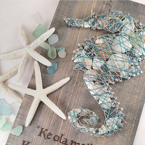String Art Seepferdchen. Seepferdchen Dekor. Muscheln Wohnkultur. Muschel Kunst. Ozean Dekor. Strand Dekor. Strand Zeichen. Zeichenfolge Kunst – Deko