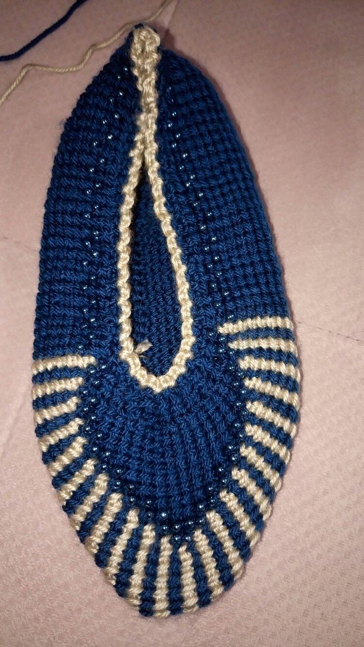 Tunusian crochet  Afghan crochet  Tunus işi Kolay patik yapımı  Tek şiş patik modeli  Tunus örgü patik modeli