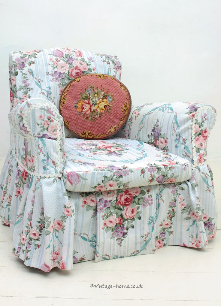 Vintage Home Shop - Pretty Vintage Floral Slip Covered Armchair: www.vintage-home.co.uk