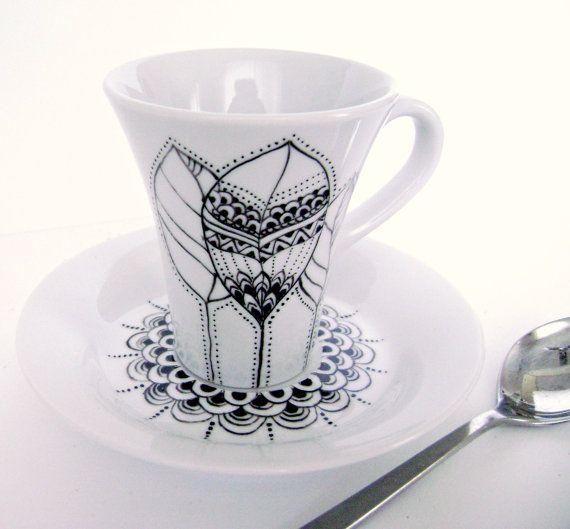 Tazzina caffè porcellana dipinta a mano disegno di DipintoAdArte, €27.00