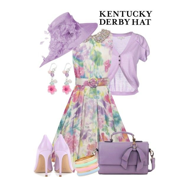 Lavender Hat!!!! Purple Derby Hat by maggie478 on Polyvore featuring Alice + Olivia, CÉLINE, Gianvito Rossi, Heilin and NIGEL RAYMENT