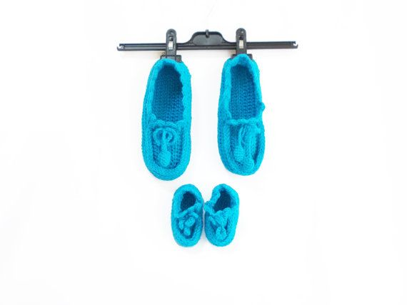Blue crochet slippers For mother and baby Thick house by aynikki,