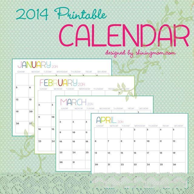 Simple free monthly 2014 calendar