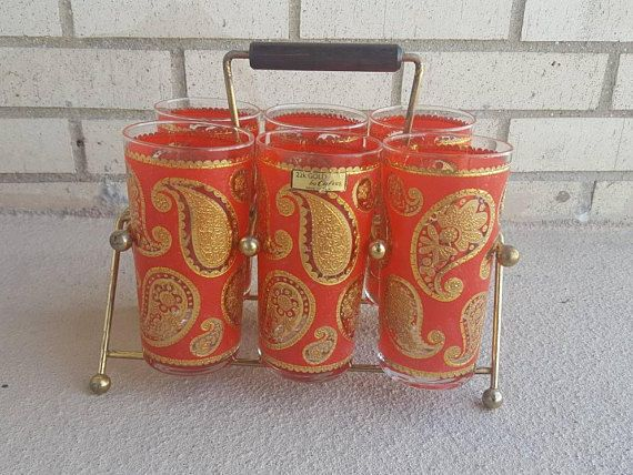 Culver Mid Century Red Paisley 22-Karat Gold Accent Barware Set Hollywood Regency Glass Set of 6 Vintage Glasses With Carrier Hippie Modern
