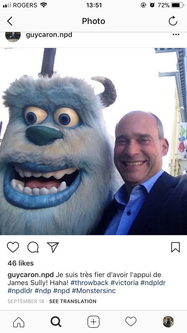"In an effort to appear much younger than he is, Mr. Caron is seen posing with a costumed version of a Disney character and exclaiming in his caption that he is excited to have the support of character ""James Sully."" Mr. Caron is attempting to be funny, and relateable in an attempt to show NDP voters that he is marketable as a ""father figure"" politician."