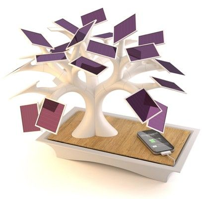 the Electree, by French designer Vivian Muller. Shaped like a bonsai tree, each of its 27 leaves is a solar panel that helps charge a 13,500mAh battery. A concealed USB connector and A/C outlet will feed your gadgets while minimizing unsightly wires, and rotatable branches let you customize the look.