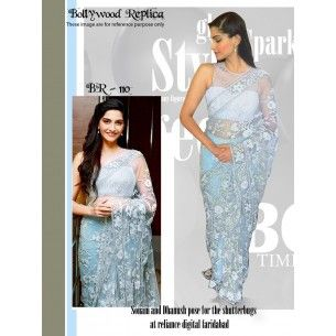 #Designer Suit #Bollywood Replica Saree Shop now : http://www.valehri.com/sky-blue-sonam-kapoor-bollywood-saree-1575
