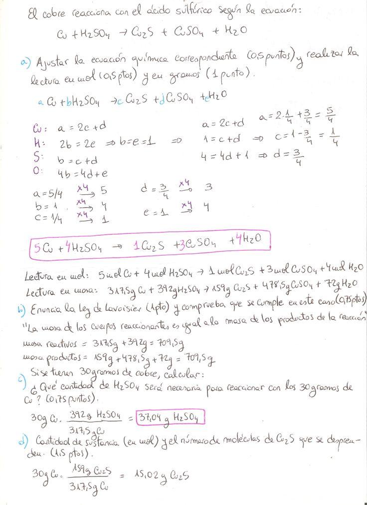 Ejercicio resuelto de reacciones químicas, estequiometría, nivel tercero - cuarto ESO. Cálculos con factores de conversión. Propuesto en un examen. Parte 1.
