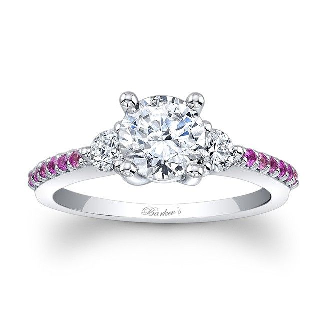 Engagement Ring With Pink Sapphires - 7539LPSW - Classic elegance  with clean lines, this three stone diamond and pink sapphire engagement ring, features diamond accent stones flanking the prong-set round diamond center.  The dainty shoulders are accented with shared prong set pink sapphires adding the finishing touch of elegance to this unique ring.   Also available in rose, yellow gold, 18k and Platinum.