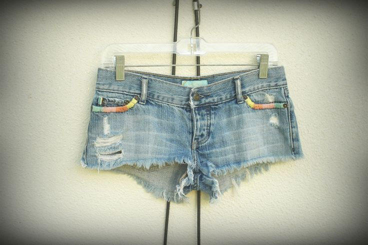 Hollister Company Hot Mini Denim Short Shorts Embroidered Retro Blue Label 1/3 #Hollister #MiniShortHot #retro #hippie #fashion #hipster #trend #shorts #embroidery #small #style Distressed #denim #jean #bluelabel
