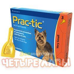 Капли для собак 2-4,5 кг Прак-тик от блох и клещей, уп. 0,45 мл