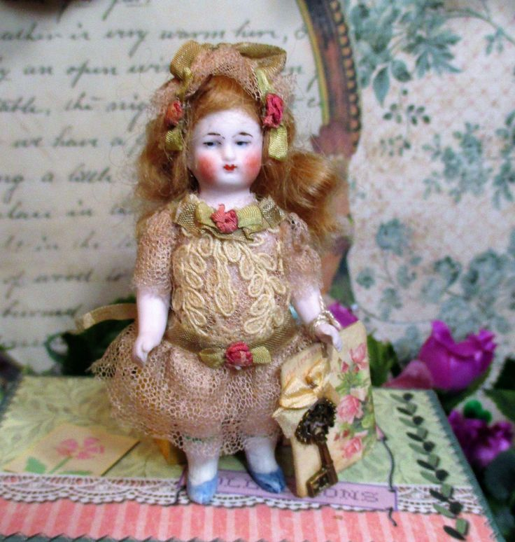 """lovely 3 1/2"""" All Bisque Antique German Miniature Dollhouse doll from nhlove on Ruby Lane"""