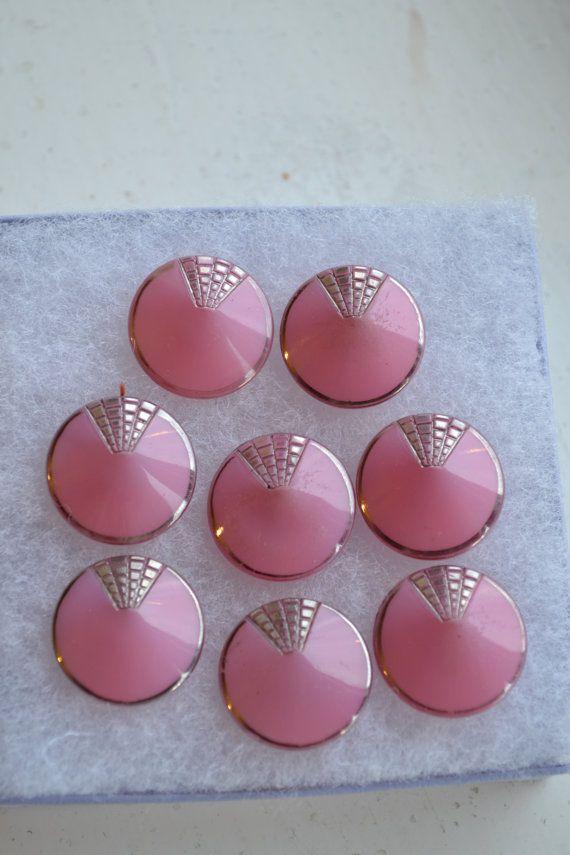Vintage art deco pink silver glass buttons set par deliadelia