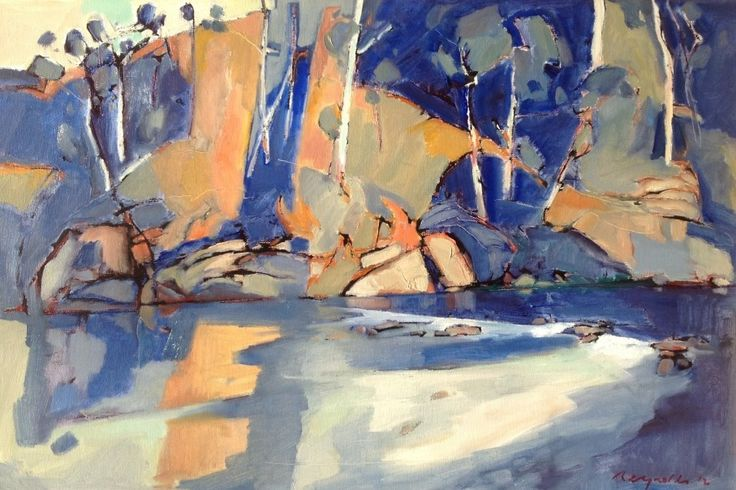 An Oil painting by Ron Reynolds in the Abstract style  depicting Landscape River Rocks and Swamp with main colour being Blue Cream and Ochre and titled Blue and Orange Warrandyte