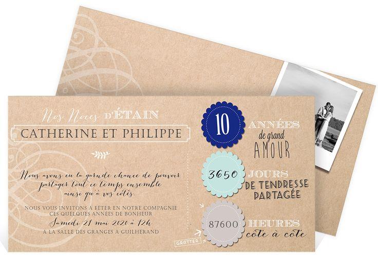 Invitation anniversaire de mariage pour célébrer vos noces d'étain : 10 ans de mariage ! ref N13136