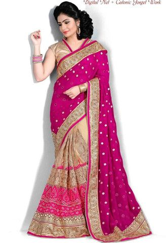 Pink Georgette-Net Saree..@ fashionsbyindia.com #designs #indian #fashion #womens #style #cloths #clothes #stylish #casual #fashionsbyindia #punjabi #suits #wedding #saree #chic #elegance #beauty #outfits #fantasy #embroidered #dress #PakistaniFashion #Fashion #Longsuit #FloralEmbroidery #Fashionista #Fashion2015 #IndianWear #WeddingWear #Bridesmaid #BridalWear #PartyWear #Occasion #OnlineShopping