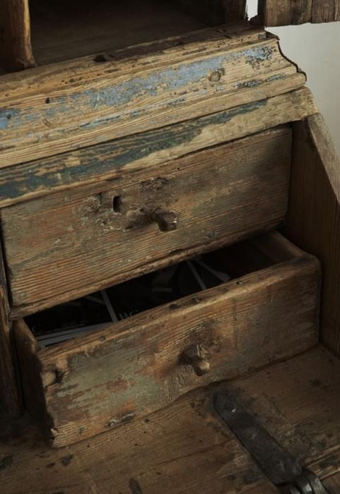 old wood box with drawer