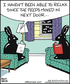 Off the Mark by Mark Parisi found on gocomics.com on Thursday, April 2, 2015. Pipe down, you peeps.