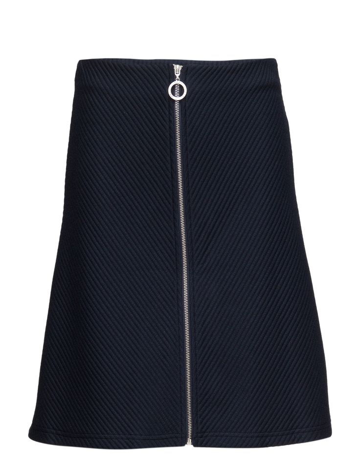 DAY - 2ND Nillis Full zip closure Ribbed fabric A-line design Skirt Navy