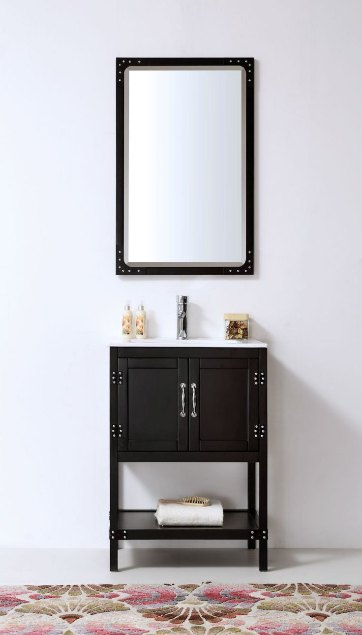 Abel 24 inch Matte Black Finish Bathroom Vanity