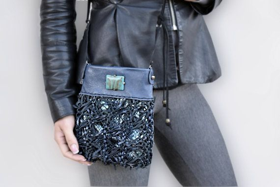 Small crossbody bag black blue leather purse cell by Glad2Balive