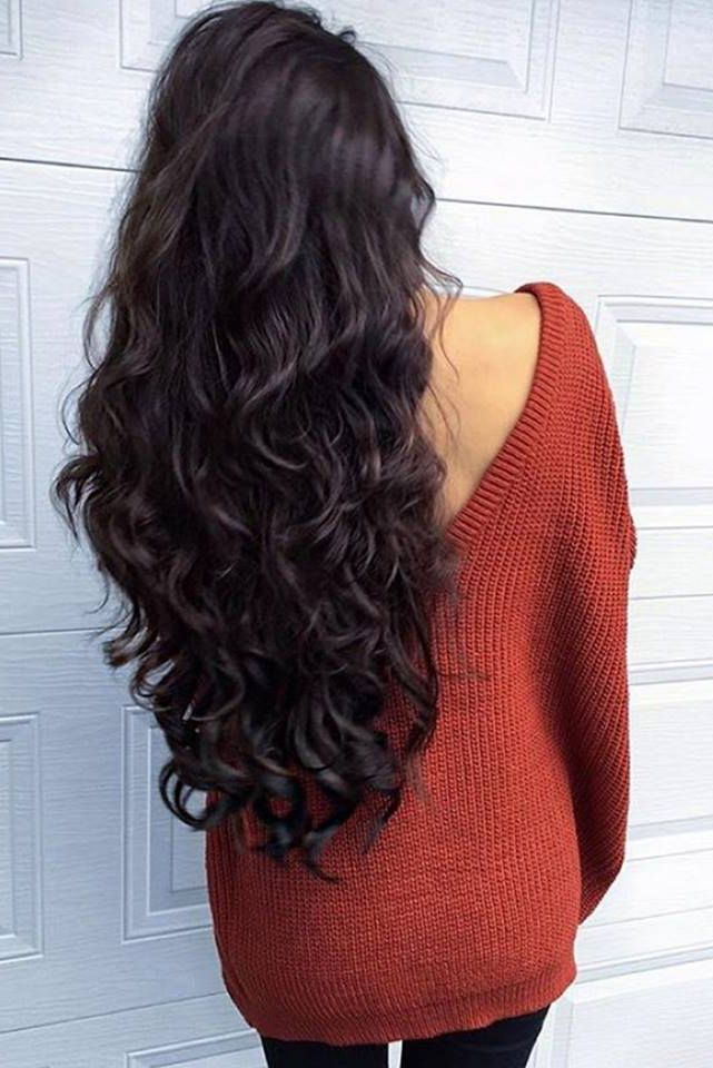 "Long Dark Brown Hair on the beautiful @kylacentomo <3 Kyla is wearing her 24"" Mocha Brown #LuxyHairExtensions to achieve this voluminous look."