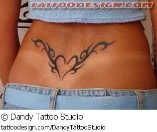 A tattoo design picture by Dandy Tattoo Studio: tribal,black,cute,sexy,feminine,girly,girlie,female,woman,women,girl,lady,ladies,pretty,beautiful,lower,back,lowerback,tramp,heart