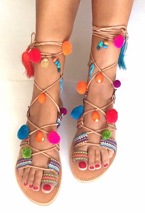 Tie Up Pom Pom  sandals ''Antigone'' by BohemianFootprints on Etsy
