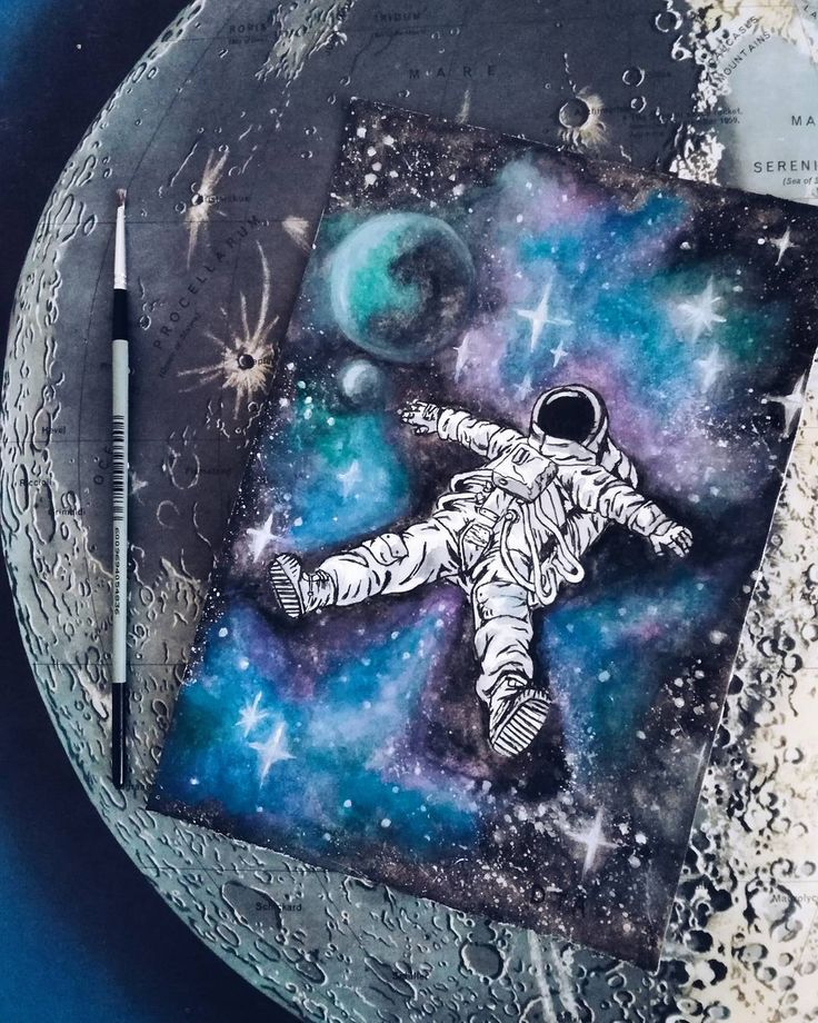 My soul is in the sky 🌙 #WilliamShakespeare #Watercolor #Painting #Moon #Astronaut #Cosmic #Art…""
