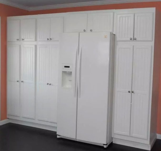 Pantry Around Refrigerator. Cottage Style Cabinets
