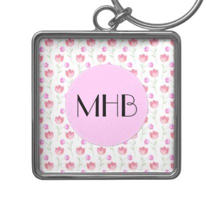 Monogram - Flowers Leaves Plant Stems - Pink Keychain - floral style flower flowers stylish diy personalize
