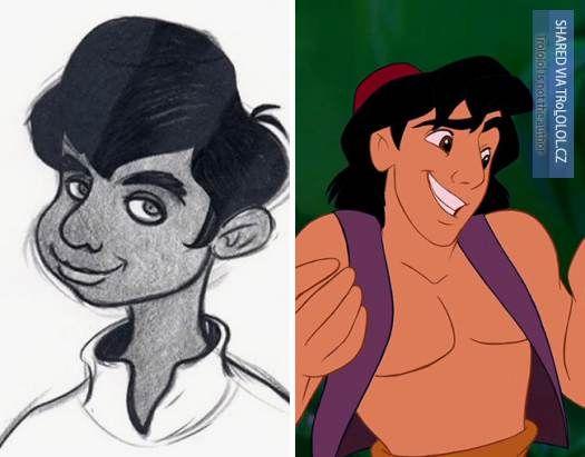 Původní kreslené návrhy Disney postaviček-Aladdin