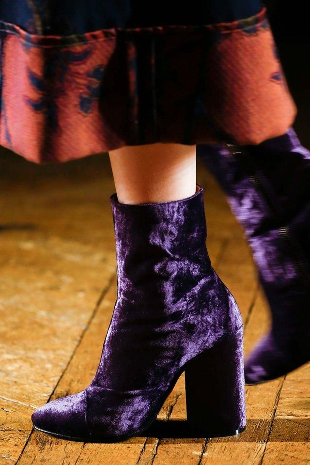 Dries Van Noten crushed velvet purple boots