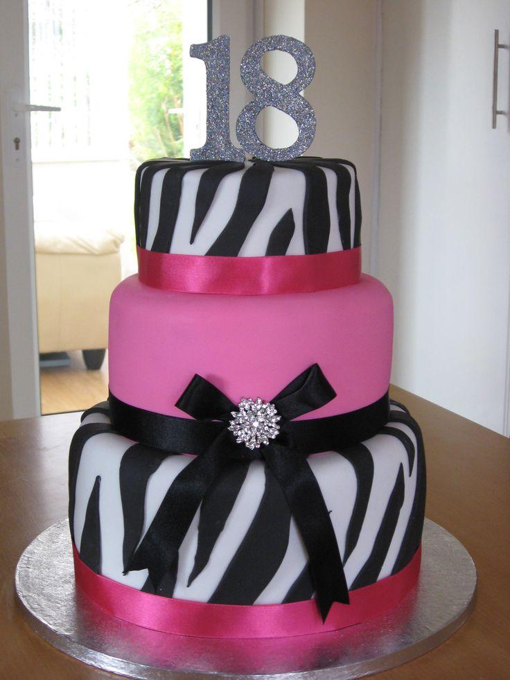 black and pink zebra 18th bday cake
