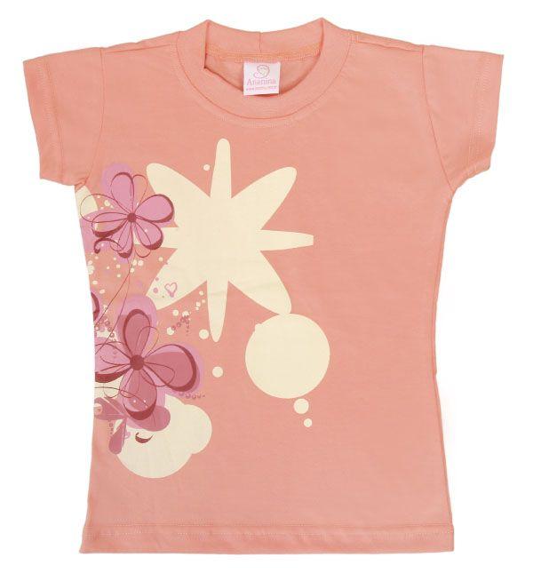 Baby Look infantil feminino curto com um linda estampa floral.