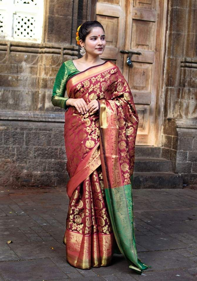 Women Beautifull fancy Women rich pallu saree with contract blouse with multi color
