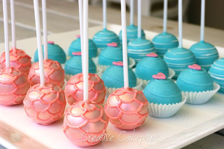 Salmon pink mermaid style cake pops #mermaid #cakepops