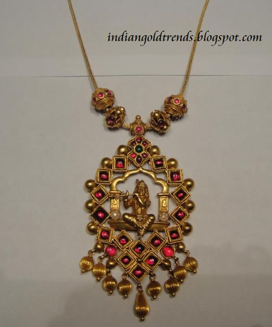 Latest Indian Gold and Diamond Jewellery Designs: Beautiful antique sri krishna pendant #necklace