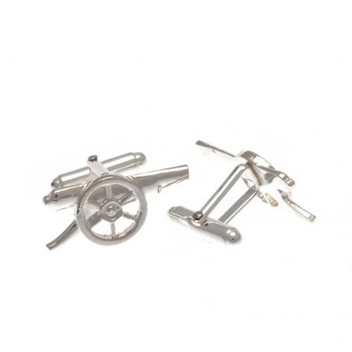 Arsenal Sterling Silver Cufflinks in the shape of the Gunners cannon crest. Approx 25 mm x 13 mm. Presented in a gift box. Official Licensed Arsenal silver cufflinks. FREE DELIVERY
