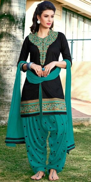 Beauty Black And Green Cotton Patiala Suit.