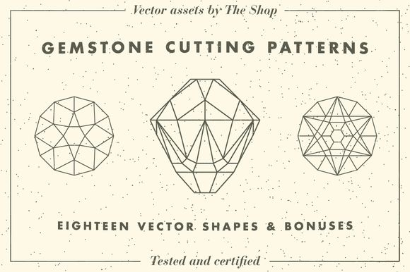 Gemstone cutting pattern vectors by The Shop on Creative Market