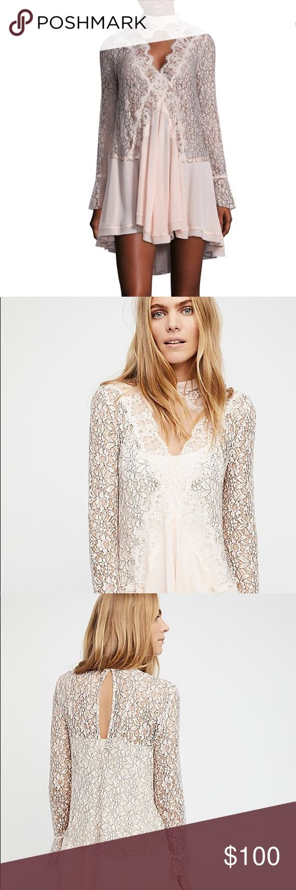 Free People Tell Tale Lace Hem Dress Turn heads with this sexy lace hem dress Swingy silhouette Color Pearl  Mock neckline Keyhole front Long lace sleeves Sheer lace top Fluted bell detail Relaxed fit Crinkly crepe skirt Button closure back Rayon/polyester/nylon machine wash Free People Dresses Mini